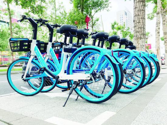 人民大街随处可见共享单车投放点。长春晚报记者 王强 摄