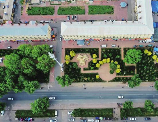 吉林市龙潭区内社区鸟瞰。