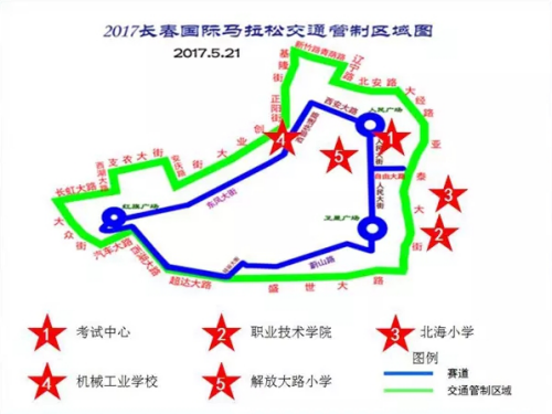 图为比赛当天交通管制与考点分布区域图