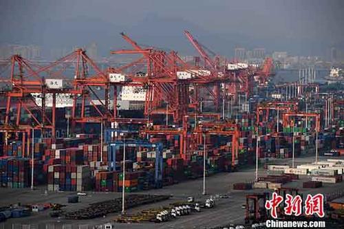 图为11月14日,福建自贸区厦门片区东渡码头内一派繁忙。中新社记者 张斌 摄