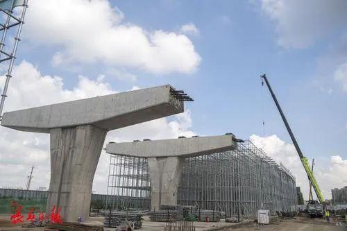 工人正在进行高架桥上部结构施工(天宇路)