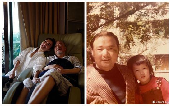 郑秀文在社交媒体晒出与父亲的合影。