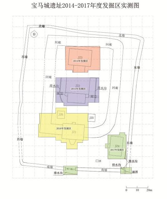 宝马城遗址2017年度发掘区(图中绿色区域)