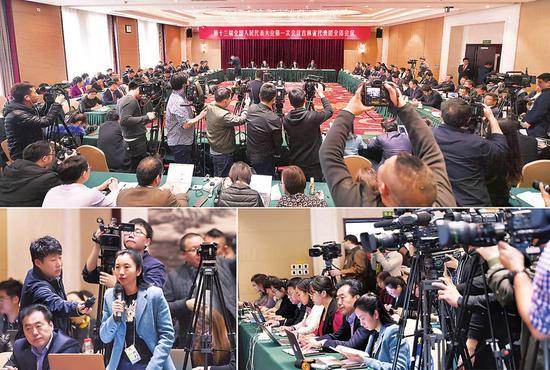 三月六日,吉林代表团举行媒体开放日活动,境内外五十余家媒体聚焦吉林。本报特派记者宋锴 摄