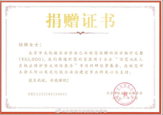 杨颖捐赠证书。