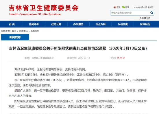 3月12日吉林省无新增确诊病例!疑似病例、密切接触者清零!