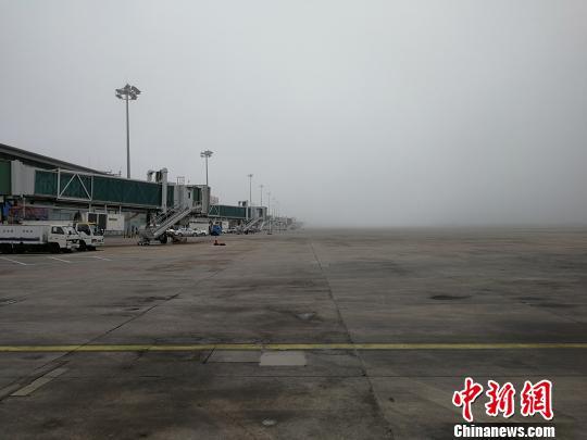 大连机场航班因浓雾大面积延误。 杨毅 摄
