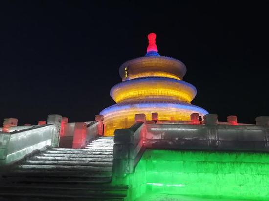 图为2021年1月30日拍摄的长春冰雪新天地冰雕。新华社记者 张建 摄