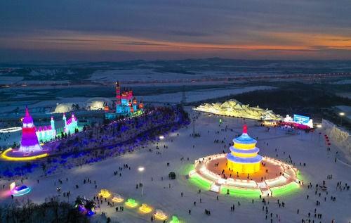 无人机拍摄的长春冰雪新天地主题冰雪乐园。新华社记者 许畅 摄