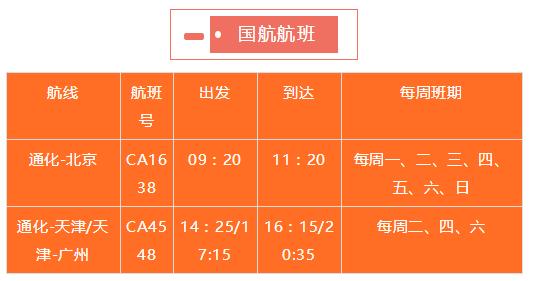 航班信息来源:国航长春营业部、通化机场