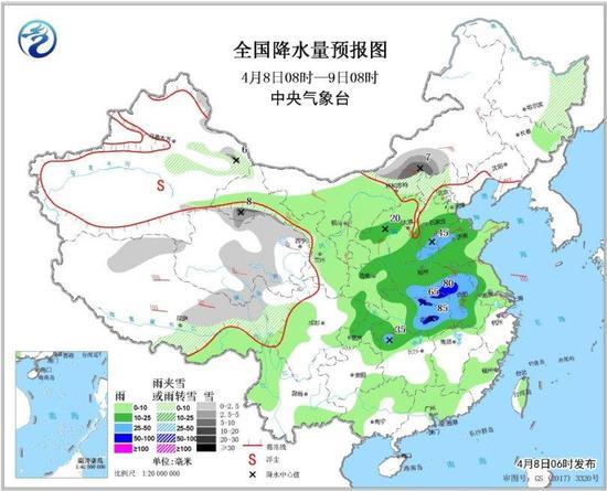图1 全国降水量预报图(4月8日08时-9日08时)
