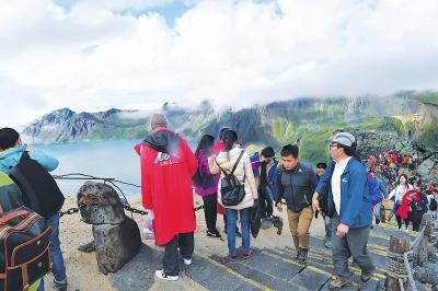 图为游客在游览天池。韩金祥摄