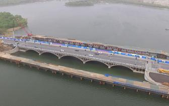 航拍长春南湖大桥、自由大桥建成啥样了