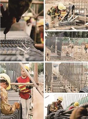 工人们在永宁路人工湿地抓紧时间施工。