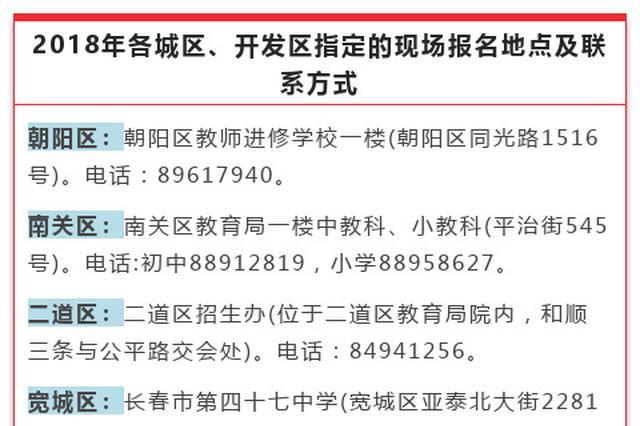 长春中小学招生未网上报名的14至15日到指定地点报名