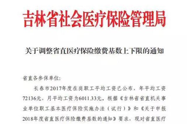 吉林省调整省直医疗保险缴费基数 看看你要补多少