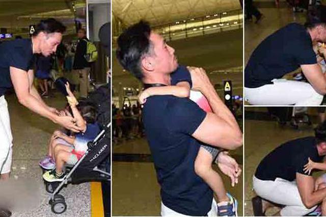 陈茵媺一拖三返港 陈豪亲自接机再见妻儿吻不停