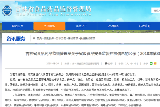 吉林省地利生鲜长春洛城店销售的芹菜抽检不合格