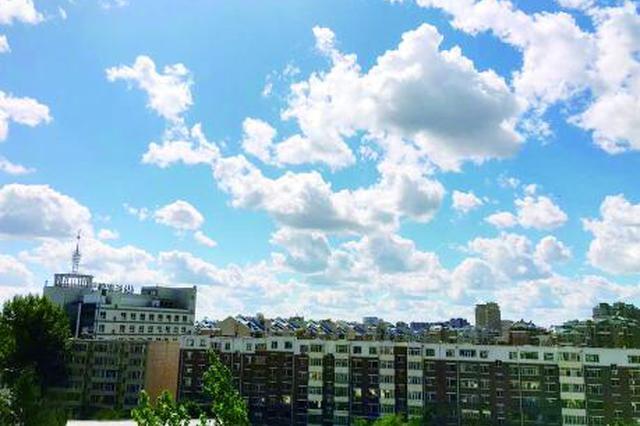 8日,我市空气质量优,蓝天白云下的城市景观清新怡人。 栾传波 摄
