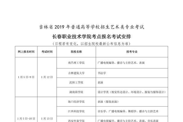 吉林省2019年普通高校招生艺考(校考)报名开始