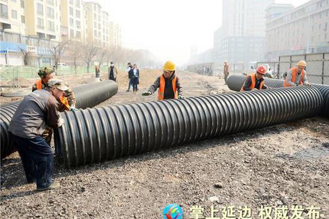 延吉市人民路东段北半幅路面恢复施工 车辆注意慢行