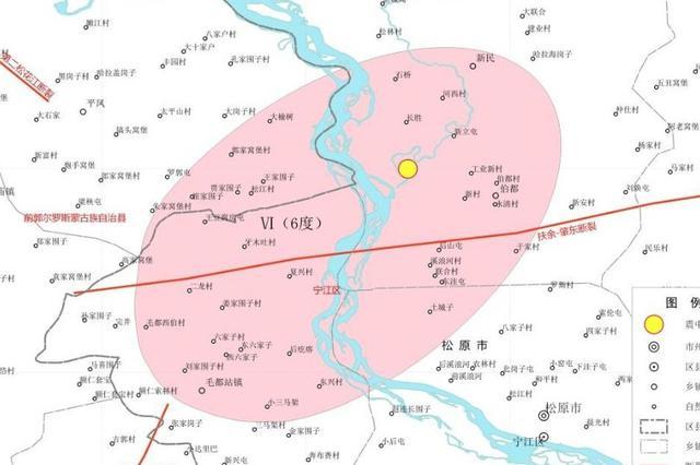 吉林省地震局发布吉林松原5.1级地震烈度图