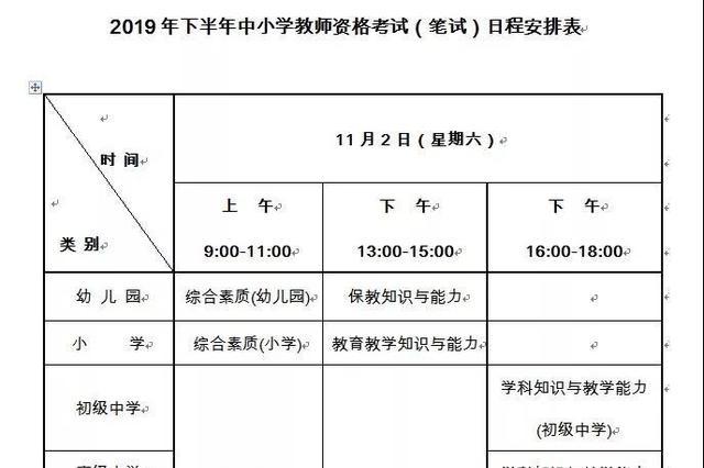 吉林省2019年下半年中小学教师资格考试日程安排来了