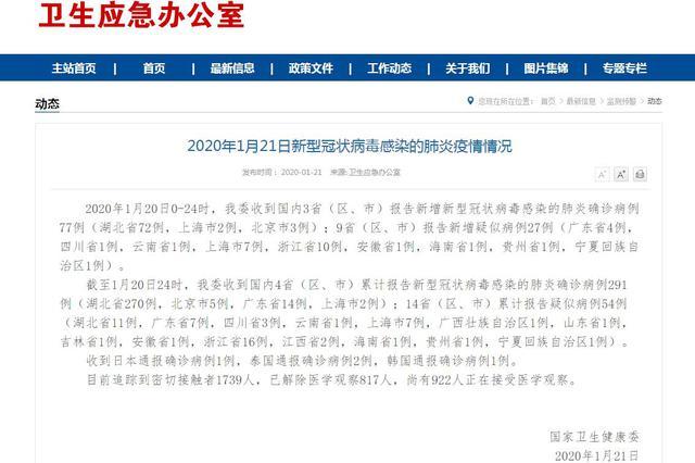 截至20日24时 吉林省发现1例疑似新型冠状病毒肺炎病例