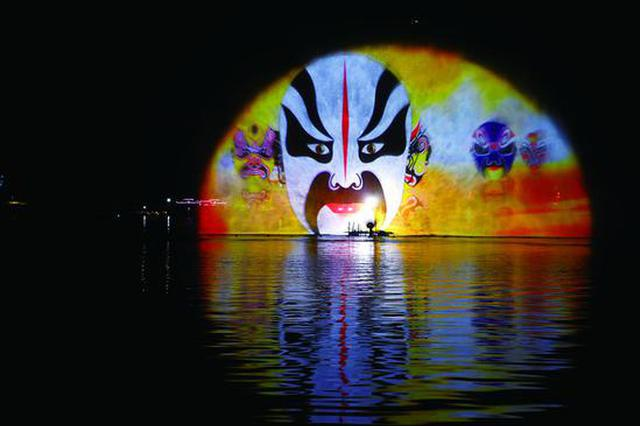 长春南湖荷花节上演灯光秀