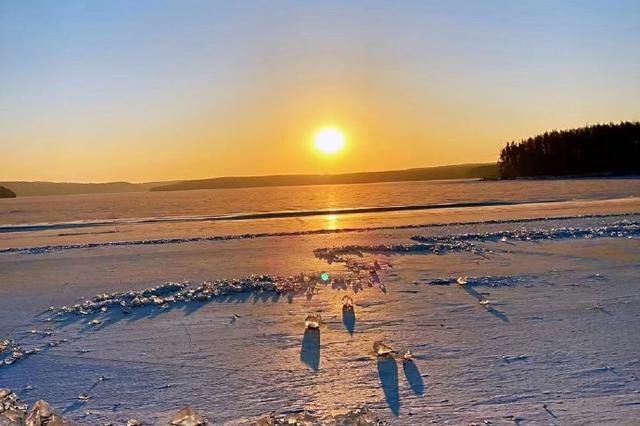 净月潭:日落风光 冬日暖阳