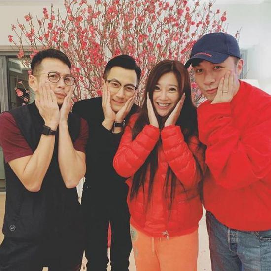 刘恺威与新五虎队友古巨基、吴家乐和好友傅明宪聚会