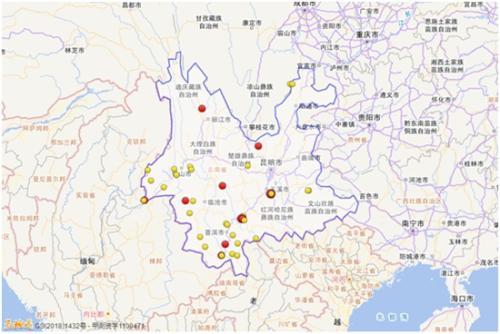 2018年,云南共发生三级以上地震44次。图片来源:中国地震台网微信公众号
