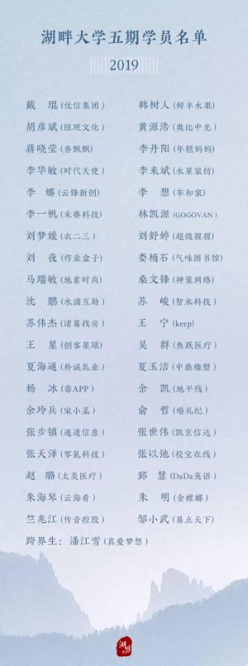 湖畔大学第五期学员名单