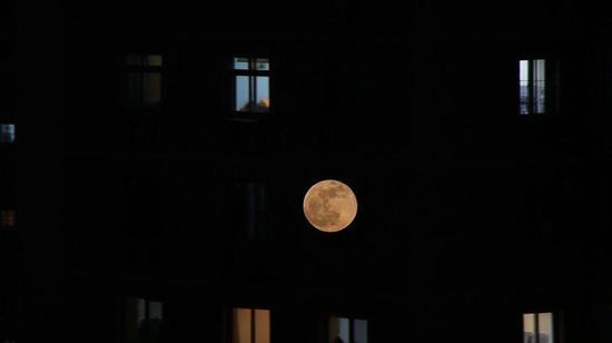 """1月21日,北京潘家园,""""超级月亮""""与万家灯火交相辉映。摄影/新京报实习生 陈婉婷"""