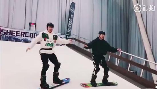 陆毅郭京飞滑雪