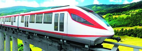 中车长客研制的新一代中低速磁浮列车。 (中车长客股份公司提供)