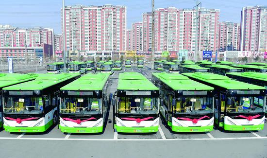 上图:整装待发的纯电动新能源公交车。 贾春文 摄