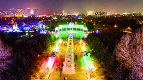 """长春世界雕塑公园""""长春雕塑冰雪天地""""景观。"""
