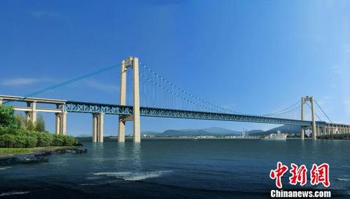 五峰山长江特大桥效果图。 洪芬 摄