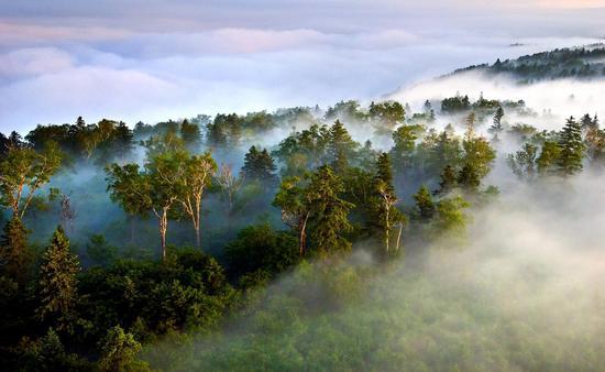 八家子林业局仙峰国家森林公园雪岭景区夏季风光