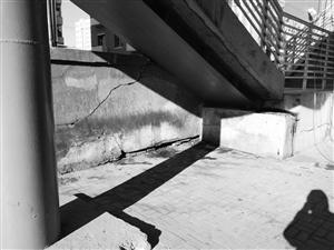 过街天桥下方墙面和地面随处可见便溺污渍。李子涵 摄