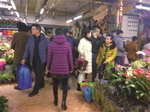 选购鲜花和绿植的市民真是不少。李子涵 摄