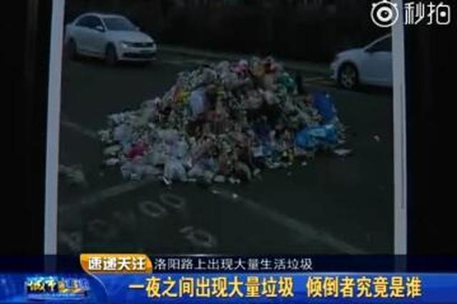 洛阳路上出现大量生活垃圾 环卫部门及时清运