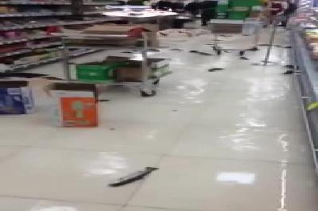 """超市大鱼缸突然破裂 店堂成""""鱼塘""""满地鱼儿撒欢"""