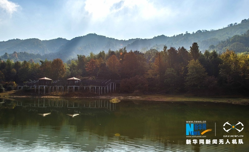 ,江西省新余市百丈峰森林休闲区在冬日阳光照耀下层林尽染,长度
