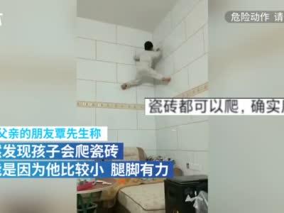 7岁男童徒手爬上2.8米高瓷砖墙 网友:属壁虎的
