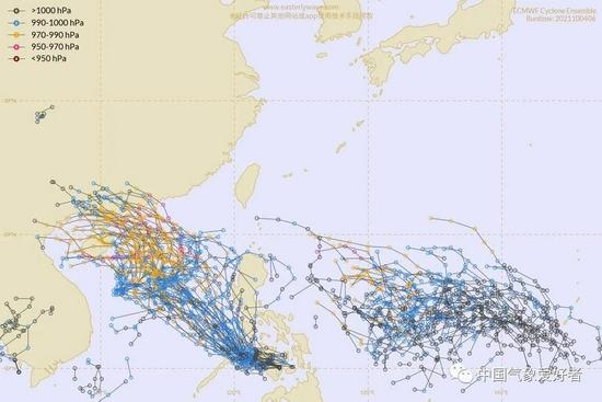 ECMWF对92W和菲律宾以东新台风胚胎的路径集合分析,中气爱制作