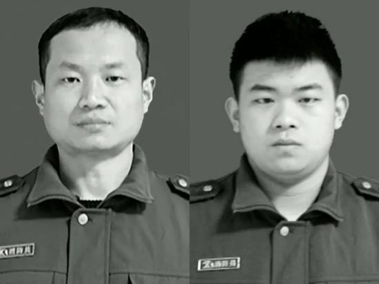 △不幸牺牲的消防救援队员张五洲(左)和徐济鑫(右)