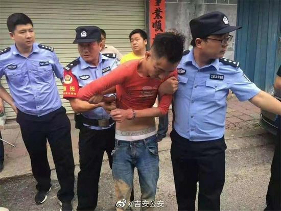 9月8日,犯罪嫌疑人谢磊被抓。来源:吉安公安官方微博