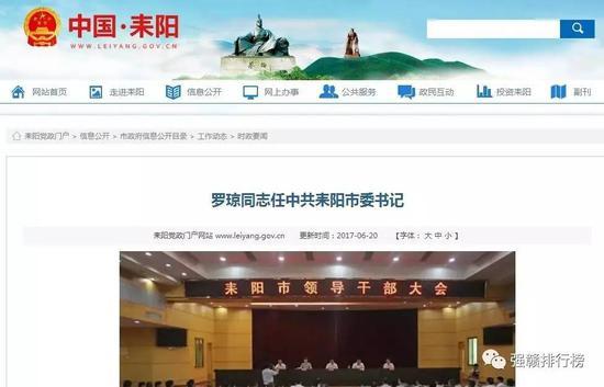 耒阳市政府网站截图